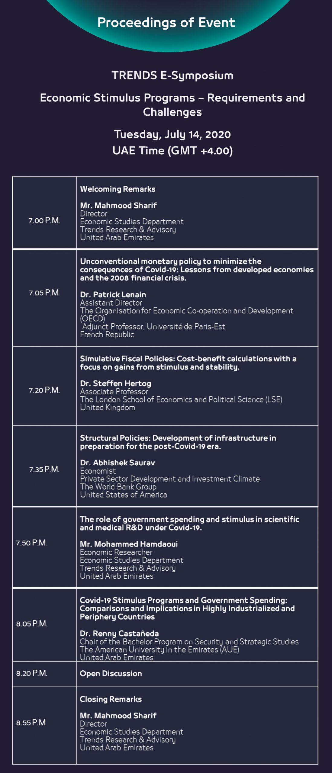 Eforum Economic Stimulus Programs Proceedings